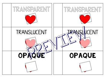 Spanish/English Transparent, Translucent, Opaque Foldable BUNDLE