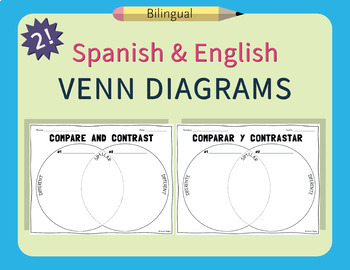 Spanish & English Venn Diagram Compare & Contrast Worksheets