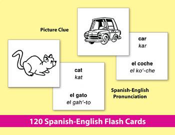 Spanish-English Vocabulary-Building Activities & Flash Cards 1 {Bundle}