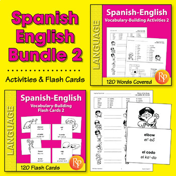 Spanish-English Vocabulary-Building Activities & Flash Cards 2 {Bundle}