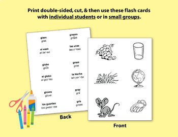 Spanish-English Vocabulary-Building Activities & Flash Cards {Complete Bundle}
