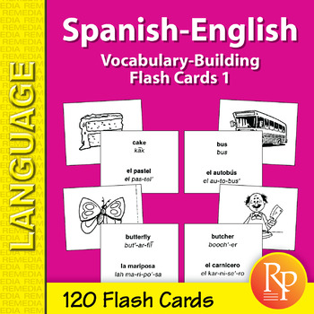 Spanish-English Vocabulary-Building Flash Cards 1 by Remedia | TpT