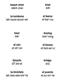 Spanish-English Vocabulary-Building Flash Cards 1