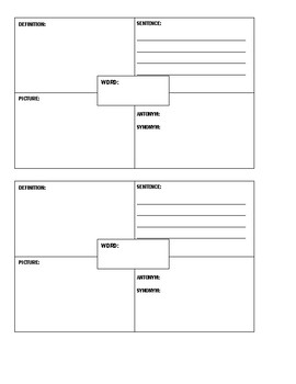 Spanish & English Vocabulary Template