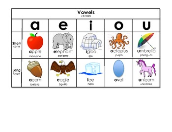 spanish english vowel chart by mrsvogt teachers pay teachers. Black Bedroom Furniture Sets. Home Design Ideas