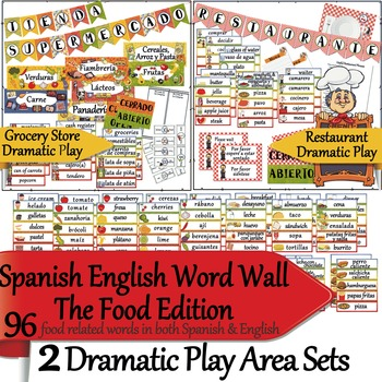 Spanish English Word Wall Add On - Food Edition