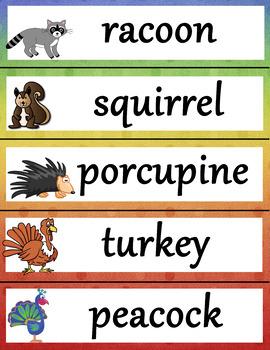 Spanish English Word Wall - Animal Vocabulary