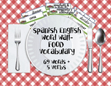Spanish English Word Wall - Food Vocabulary
