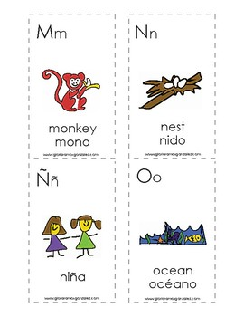 Spanish English cognate alphabet flash cards with bilingual labels