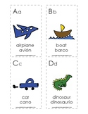 Spanish English cognate alphabet flash cards with bilingua