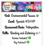 Spanish Environmental Issues Interpretive Assessment and F