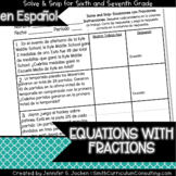 Spanish Equations with Fractions Word Problems Math Activity | Solve and Snip®