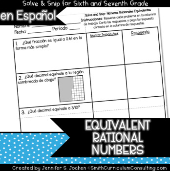 Spanish Equivalent Rational Numbers Solve and Snip