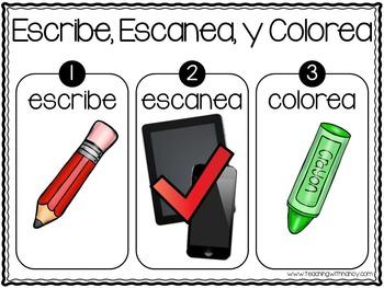 Spanish: Escribe y Escanea (Palabras con silabas a-o)