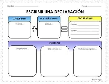 Spanish Escribir una Declaración/Writing a Claim Graphic Organizer (Editable)