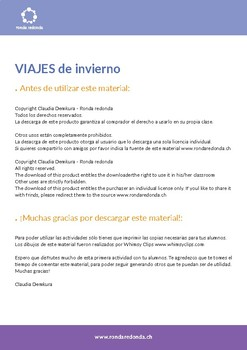 Spanish - Español - Viajes de invierno - Cartilla de actividades