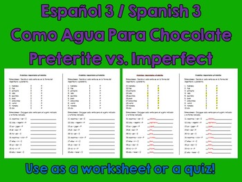 Spanish Español Preterite versus Imperfect Worksheet Quiz & Key