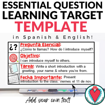 essential question learning target template in spanish and english