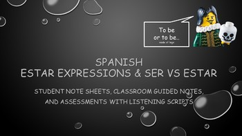 Spanish- Estar Expressions and Ser vs. Estar Vocabulary and Assessment Bundle
