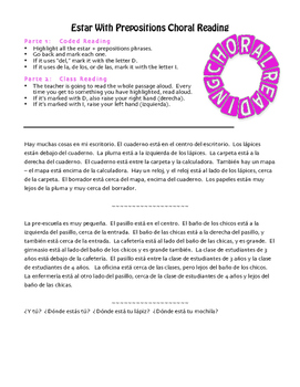 Spanish Estar With Prepositions Choral Reading