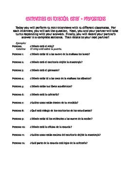 Spanish Estar With Prepositions Rotating Interviews