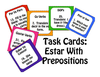 Spanish Estar With Prepositions Task Cards