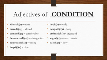 Spanish Estar and Adjectives of Condition and Emotion
