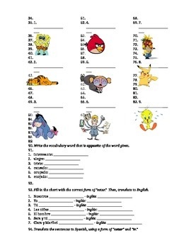 Spanish Estar and Prepositions Worksheets