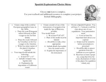 Spanish Explorations Choice Menu
