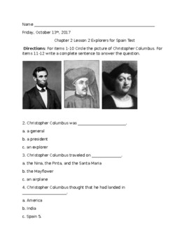 Spanish Explorers Test