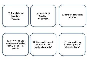 Spanish Expresate 1 chapter 1 review of vocabulary and grammar task cards
