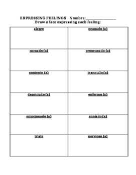 Spanish Expressing Feelings Las Emociones Practice Worksheet