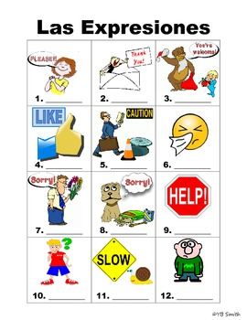Spanish Expressions PICTURE Notes SET