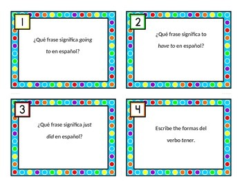 Spanish Expressions With Infinitives Task Cards