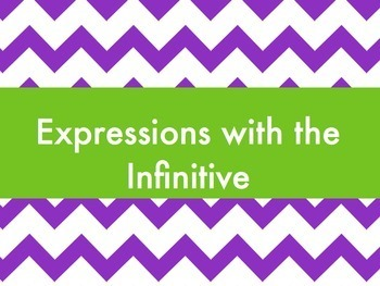 Spanish Expressions with the Infinitive BUNDLE- Slideshow & Worksheets Pack