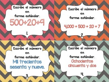 word form in spanish Spanish Extended Form, Standard Form & Word Form Task Cards  TpT