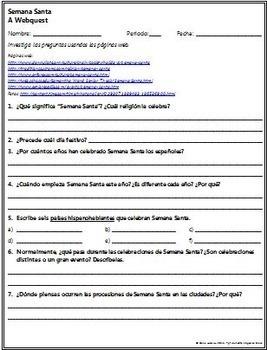 Spanish - Extensive Semana Santa Webquest SPANISH Version