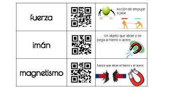 Spanish- FOSS KIT: PS- Force, Motion, Energy QR Code Vocabulary
