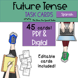 Spanish FUTURE Tense Task Cards! 45 Cards! Editable! (regular and irregular!)