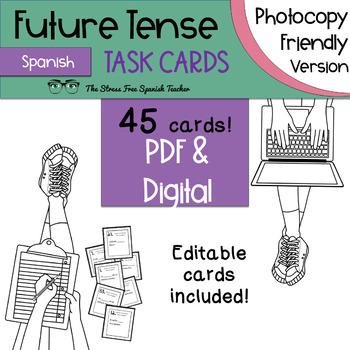 Spanish FUTURE Tense Task Cards! 45 Cards! Ink Friendly! (regular & irregular!)