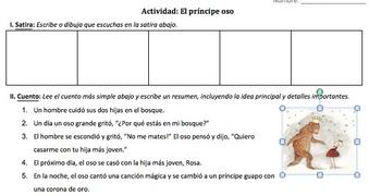 Fabulas y Cuentos de hada - Spanish Fables and Fairytales Unit (Preterit Tense)