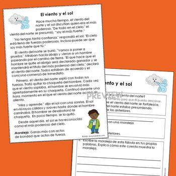 Spanish Fables with Text Based Questions and Graphics Organizers