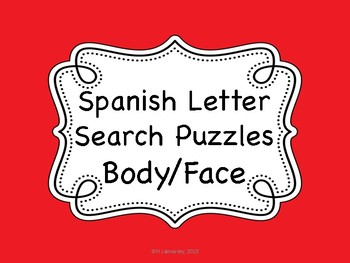 Spanish Face/Body (Cara / Cuerpo) Letter Search Puzzles