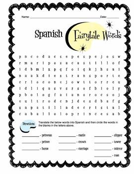 Spanish Fairy Tale Words Worksheet Packet