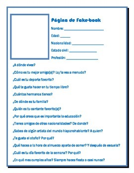 Spanish Fakebook Page Writing Activity