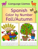 Spanish Fall Autumn Otono Color by Number Activity