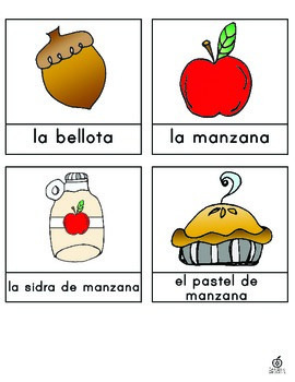 Spanish Fall Vocabulary Word Wall Cards