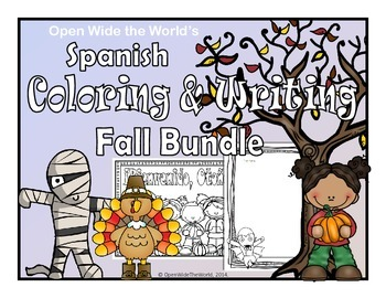 Spanish Coloring & Writing Fall Bundle
