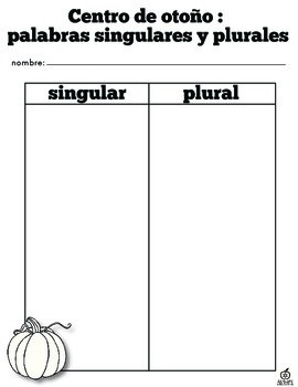 Spanish Fall Literacy Center: Sorting Singular and Plural Fall Words