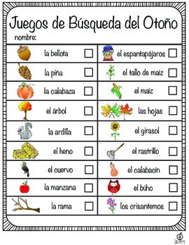 Spanish Fall Literacy Center / Spanish Fall Scavenger Hunt (Differentiated)